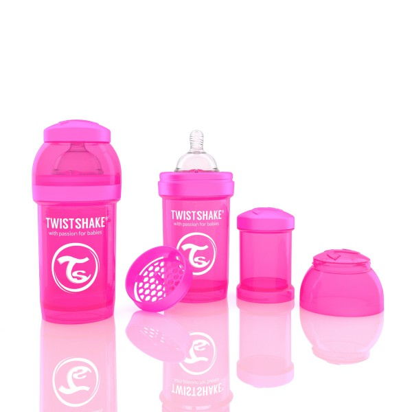 TWISTSHAKE 180 ml pink Anti-Kolik Flasche