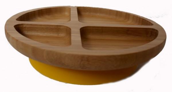 Bambusteller mit Saugnapf SONNENGELB