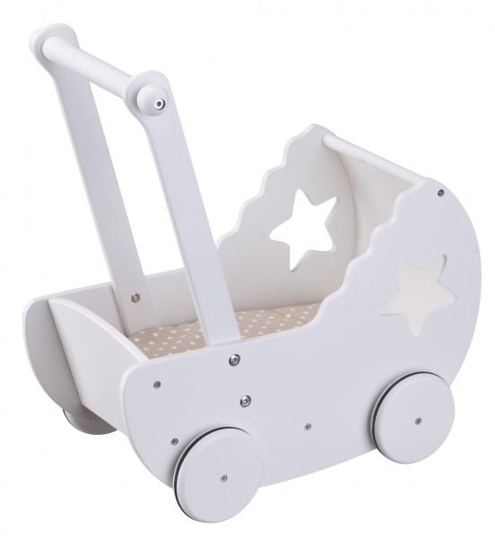 Puppenwagen STAR aus Holz weiß