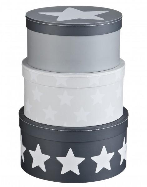 3er Set Pappboxen STAR rund grau